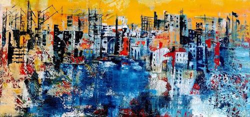 U.v.Sohns, Stadt im Chaos, Abstract art, Miscellaneous Buildings, Abstract Art, Abstract Expressionism
