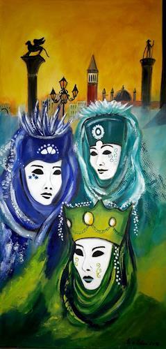 U.v.Sohns, Serie Carnevale di Venezia - donne mascherate, Carnival, People: Group, Contemporary Art