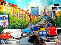 U.v.Sohns-Situations-Traffic-Car-Modern-Age-Expressive-Realism