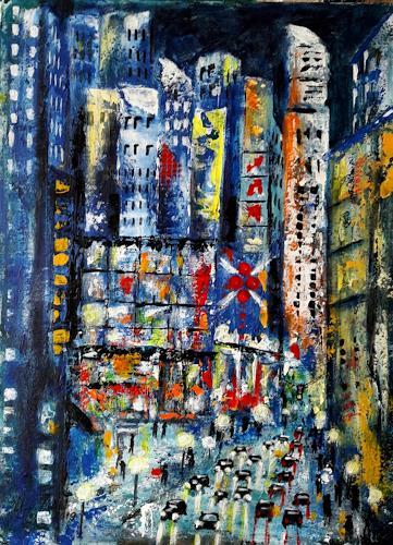 U.v.Sohns, City lights -9-, Traffic: Car, Miscellaneous Buildings, Expressive Realism