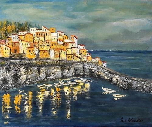 U.v.Sohns, an der Küste Liguriens, Nature: Miscellaneous, Nature: Water, Expressive Realism