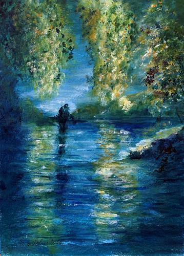 U.v.Sohns, Abendstimmung am See, Landscapes: Sea/Ocean, Miscellaneous Romantic motifs, Impressionism