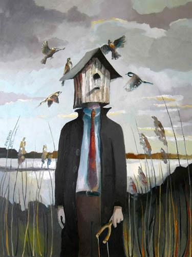 Gregor Ziolkowski, VOGELFAENGER, People: Men, Nature: Miscellaneous, Surrealism, Abstract Expressionism