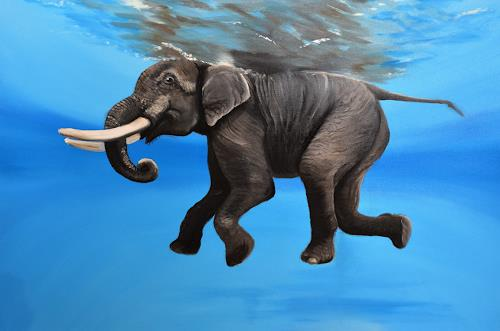 Andrea Bräuning, Schwimmer, Animals, Realism, Expressionism