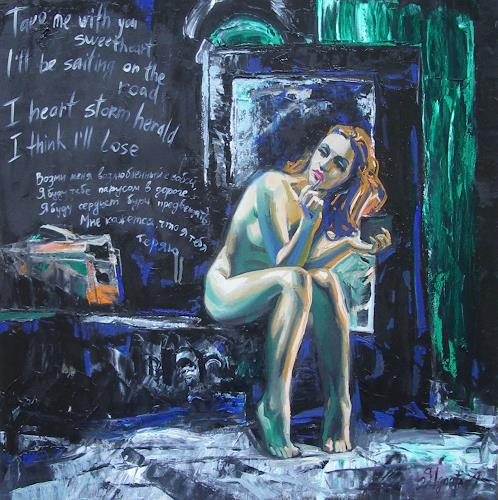 Sergey Ignatenko, Expectancies, Erotic motifs: Female nudes, People: Women, Realism, Abstract Expressionism