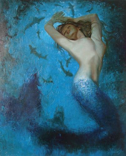 Sergey Ignatenko, Mermaid, People: Women, Nature: Water, Neo-Impressionism, Expressionism