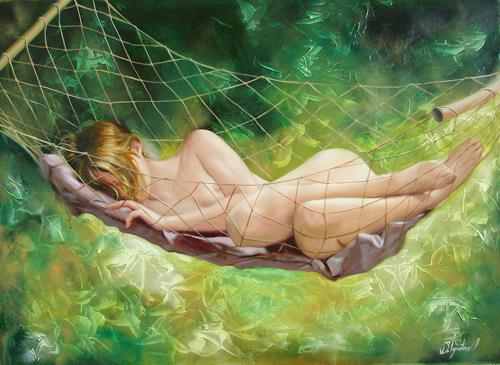 Sergey Ignatenko, The dream in summer garden, Erotic motifs: Female nudes, People: Women, Post-Impressionism