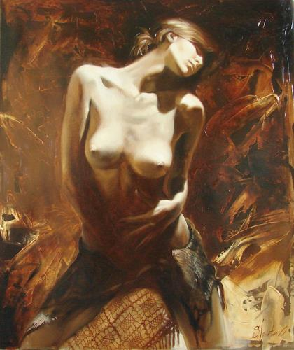 Sergey Ignatenko, The incinerating passion, Erotic motifs: Female nudes, People: Women, Post-Impressionism, Abstract Expressionism