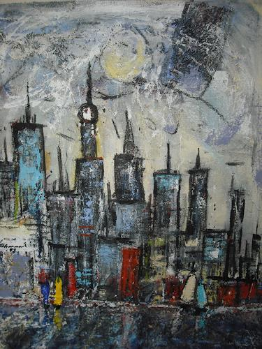 Acryl-Power, Skyline Singapur, Abstract art, Miscellaneous Buildings, Abstract Expressionism, Expressionism