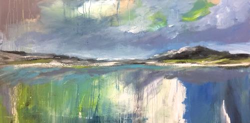 Alexandra von Burg, Luce dal cielo, Landscapes: Mountains, Abstract Art, Expressionism