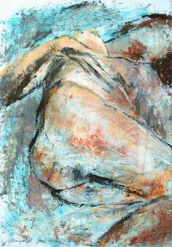 Johanna Leipold, Weiblicher Akt, liegend, Erotic motifs: Female nudes, People: Women, Expressive Realism