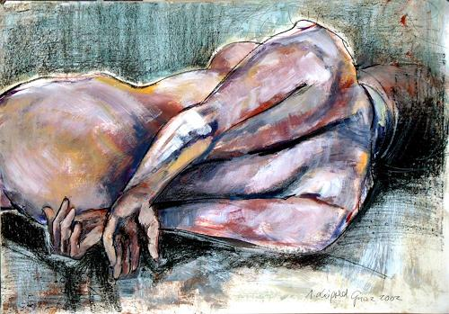 Johanna Leipold, Liegender weiblicher Akt, Erotic motifs: Female nudes, People: Women, Expressive Realism, Abstract Expressionism