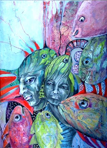 Johanna Leipold, Die Fisch-Liebhaber, Fantasy, People: Group, Expressive Realism, Abstract Expressionism