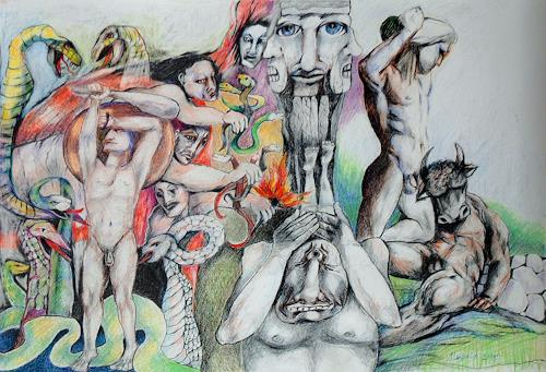 Johanna Leipold, Die grausamen Goetter Griechenlands, Mythology, People: Group, Expressive Realism