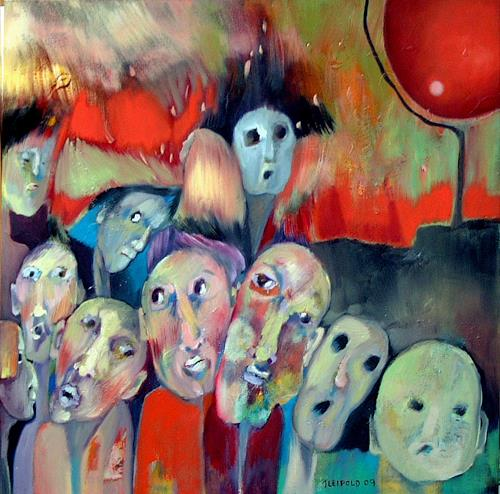 Johanna Leipold, Die anonyme Menge, Society, People: Group, Expressive Realism, Abstract Expressionism