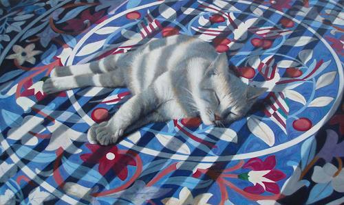 Neeharika Donau, Schlafende Katze, Animals: Land, Decorative Art, Photo-Realism, Expressionism