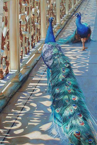 Neeharika Donau, Pfauen auf Brücke, Animals: Air, Architecture, Realism, Expressionism