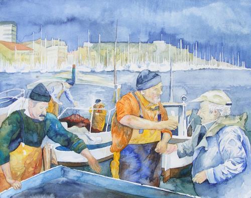 Frank Koebsch, Fischmarkt von Marseille, People: Group, Market, Expressionism