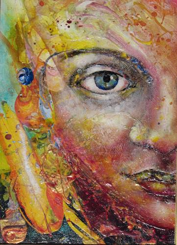 Elke Henning, Nur ein Blick, People: Faces, Abstract art, Contemporary Art, Abstract Expressionism