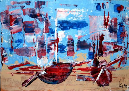 Hubert König, Feierabend, Abstract art, Landscapes: Sea/Ocean, Abstract Expressionism