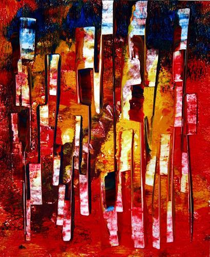 Hubert König, Communication-Line, Abstract art, People: Group