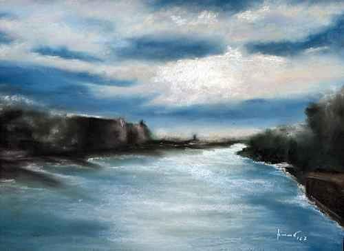 Uwe Zimmer, Die Spree von der Oberbaumbrücke während der Open Art, Landscapes: Summer, Miscellaneous Landscapes, Post-Impressionism
