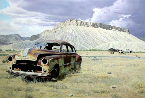 Manfred Hönig, The Witness, Landscapes: Mountains, Traffic: Car, Hyperrealism, Expressionism