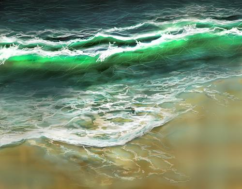 Sandra Robertz, Ocean, Nature: Water, Landscapes: Sea/Ocean, Contemporary Art, Expressionism