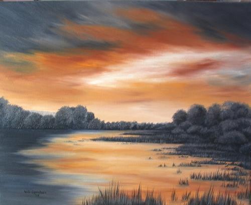 Haike Espenhain, Farbenspiel, Landscapes: Sea/Ocean, Romantic motifs: Sunset, Expressionism