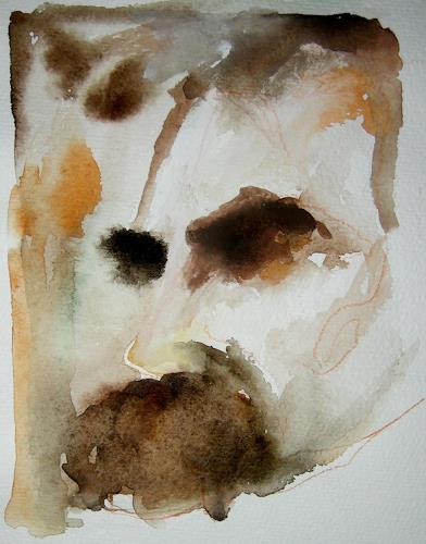Albert Lascaux, Nietzsche auf Papier 01, People: Faces, People: Portraits, Contemporary Art