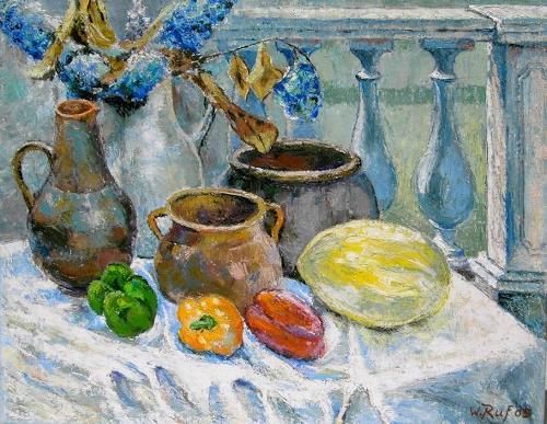 Willi Ruf, Stilleben mit Melone, Öl auf Leinwand, 65 x 80 cm, Still life, Impressionism