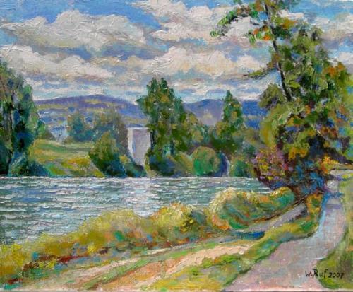Willi Ruf, Der Rhein bei Kadelburg, Landscapes: Summer, Miscellaneous Landscapes, Impressionism, Expressionism