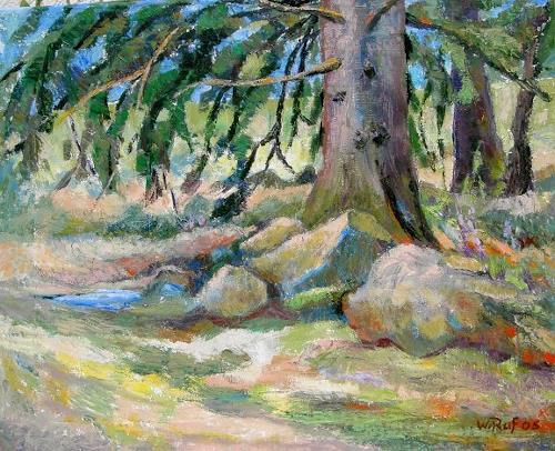 Willi Ruf, Tanne am Schlüchtsee, Landscapes: Summer, Impressionism