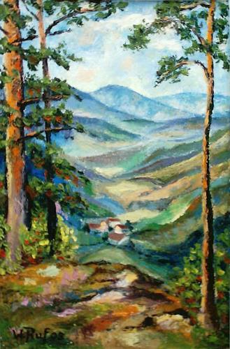 Willi Ruf, oberhalb Bergoeschingen, Landscapes: Mountains, Impressionism
