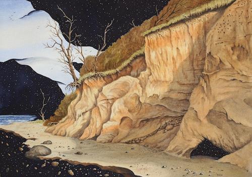 Joachim Lilie, Fernes Ufer, Fantasy, Landscapes: Sea/Ocean, Post-Surrealism, Expressionism