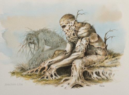 Joachim Lilie, Die Grübler, Emotions, Fantasy, Post-Surrealism, Abstract Expressionism