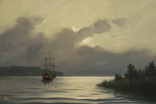 Joachim Lilie, Vor Anker, Landscapes: Sea/Ocean, Concrete Art