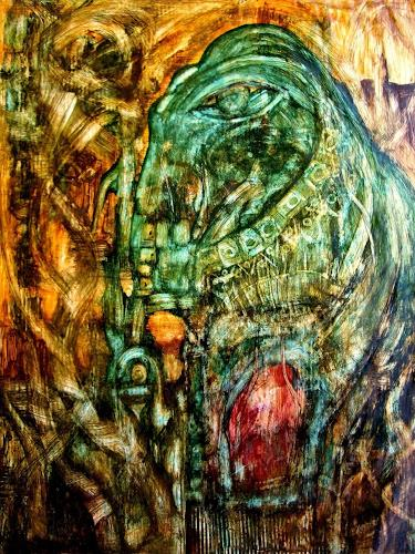 WERWIN, Smaragd Elephant, Animals: Land, Surrealism, Abstract Expressionism