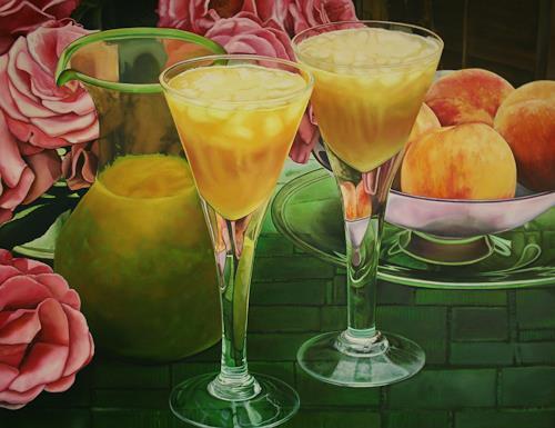 Renzo Valenti, Bicchieri con Pesche, Still life, Photo-Realism, Expressionism