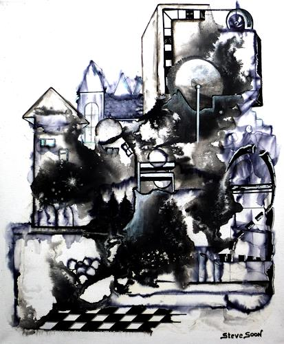 Steve Soon, black`n white - series: ONE, Abstract art, Buildings, Neo-Expressionism, Abstract Expressionism