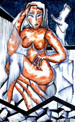 Steve Soon, Bonnie ohne Kleid, Erotic motifs: Female nudes, Neo-Expressionism