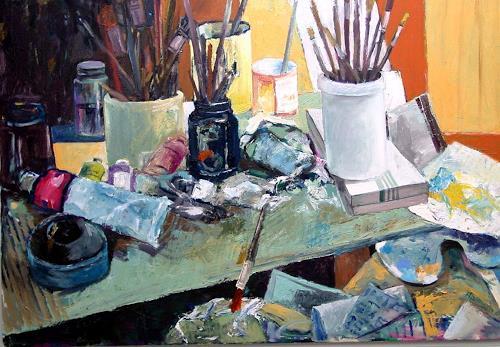 Ulrich Hollmann, Großes Atelierstilleben, The world of work, Still life, Abstract Art