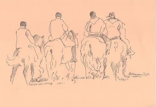 Ulrich Hollmann, Reitergruppe, People: Group, Animals, Abstract Art