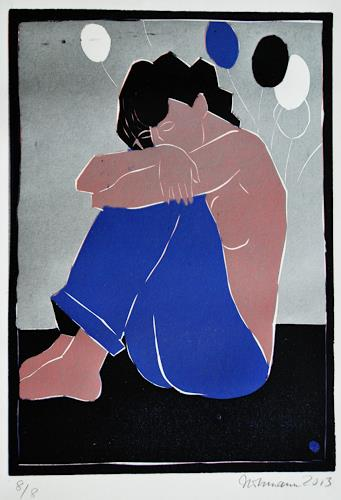 Ulrich Hollmann, Hockende Frau mit Luftballons, People: Women, Erotic motifs: Female nudes, Contemporary Art