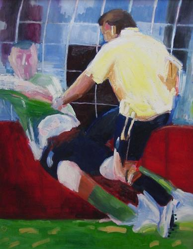 Ulrich Hollmann, Großes Rasenbild 11, Sports, People: Group, Neo-Expressionism