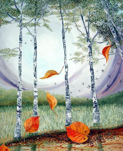 Thomas Suske, Herbstlaub, Landscapes: Autumn, Plants: Trees, Naturalism, Expressionism