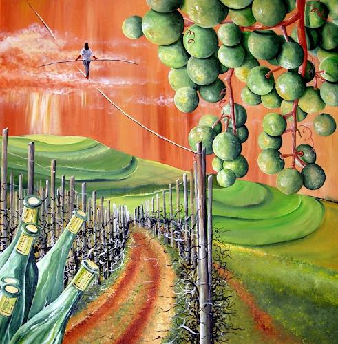 Thomas Suske, wine in balance with nature, Plants: Fruits, Landscapes: Hills, Post-Surrealism, Abstract Expressionism