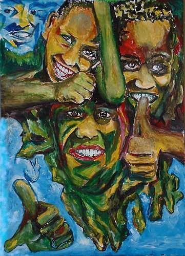 Rudolf Lehmann, Mein Traum von Afrikas Kinder, Emotions: Safety, People: Children, Neo-Expressionism