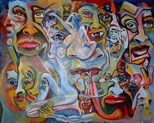 Rudolf Lehmann, Soziales Geflecht, Society, People: Faces, Neo-Expressionism