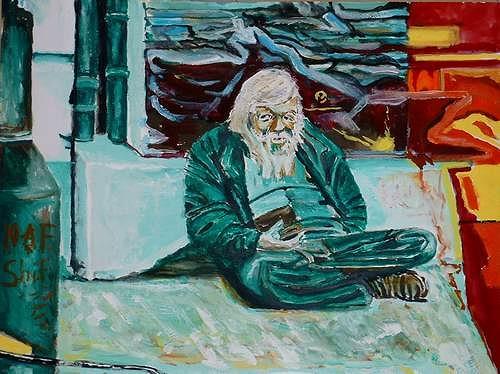 Rudolf Lehmann, Bettler in Frankfurt am Main, Society, Emotions: Depression, Neo-Expressionism